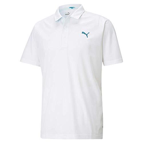 PUMA Men's Standard Tech Pique Palmetto Polo, Bright White, Medium