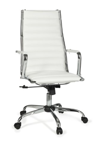 Amstyle Bürostuhl GENF 1 Bezug Kunstleder Design Schreibtischstuhl XXL 110 kg Chefsessel höhenverstellbar Drehstuhl ergonomisch mit Armlehnen Rücken-Lehne Wippfunktion verstellbar Schalensitz hoch weiß