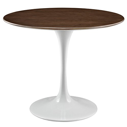 Modway Lippa 36' Mid-Century Modern Dining Table with Round Top in Walnut