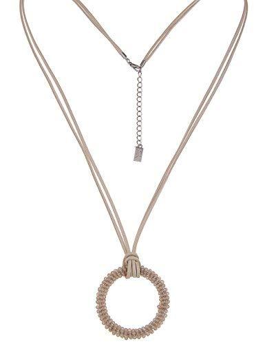 Leslii Damenkette mit Glasperlen Ring Ethno Look Lange Halskette vegane Lederkette Modeschmuck Kette in Beige