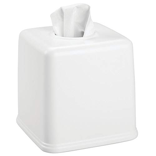 mDesign Plastic Square Facial Tissue Box Cover Holder for Bathroom Vanity Countertops, Bedroom Dressers, Night Stands, Desks and Tables - White