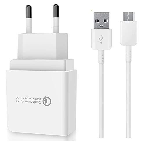 Qualcomm 18W Cargador rápido + Cable de carga XXL USB tipo C compatible para Xiaomi Mi10/ Mi10 Pro/Mi 9/ Mi 9 SE/Mi 9T/ Mi 9T Pro/Mi 9 Lite/Mi Note 10/10 Pro/Redmi Note 8 Pro/ 8T/7/7 Pro/ K30/K20