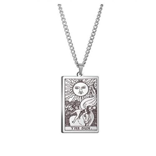 WUJIAO Tarot Grand Arcana Sun, vergoldeter und versilberter Schmuck, große Mystery-Halskette, Amulett, Herrenhalskette Silver