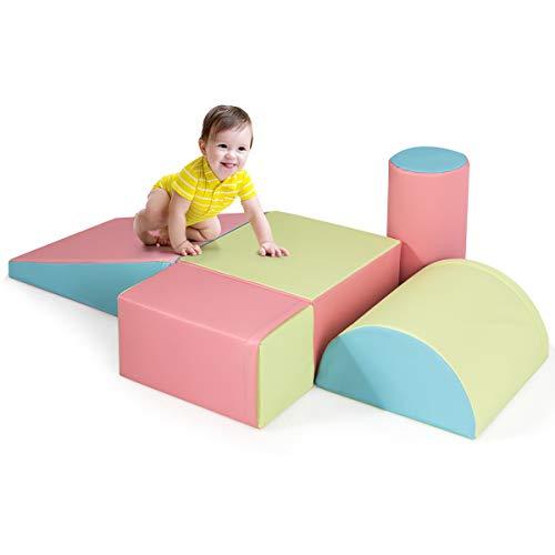 Costzon Crawl and Climb Foam Play Set, Colorful Fun Toddler Nugget, 5 Piece Lightweight Foam Shape for Climbing, Crawling & Sliding, Safe Soft Foam Block for Preschoolers, Baby, Kids (Deep Powder)