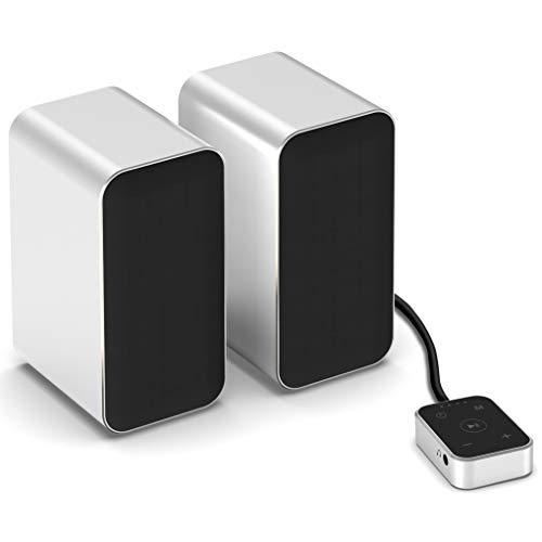 KEiiD PCスピーカー ステレオ タッチコントローラ付き、パソコンスピーカーBluetooth5.0内蔵 音楽ワイヤレス再生可能、アルミ合金ケーシング 、3つのEQオプション: 音楽、映画、ゲーム 各種ノートブック・デスクトップパソコン対応可能、ゲームコンピュータスピーカー (銀)