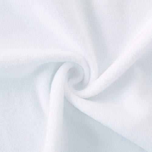 Polar Fleece Stoff zum Nähen | beidseitig gerauht - flauschig weich | warmer Winterstoff mit Antipilling | für Jacke Mütze Schal Pullover Decke | 150cm breit Meterware | Rein Weiß