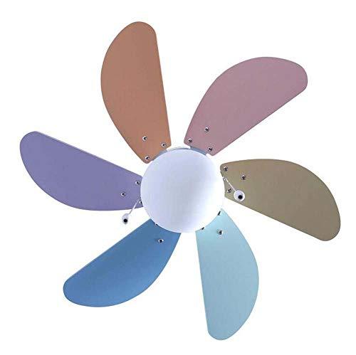 JKL Light Leaf Fan-plafondventilator voor kinderen, 76 cm, 30 cm, met 6 regenboog-houten messen en lichtset, klassieke plafondventilator, omkeerbaar voor een Contrôle Mural