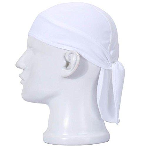 Gosear Unisex Anti-Schweiß Flexible Motorrad Reiten Cap Rag Head Wrap Skull Bandana Cap Weiß