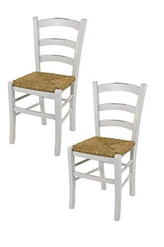 sedie da cucina shabby chic Tommychairs - Set 2 sedie modello Venezia per cucina bar e sala da pranzo dallo stile Shabby Chic