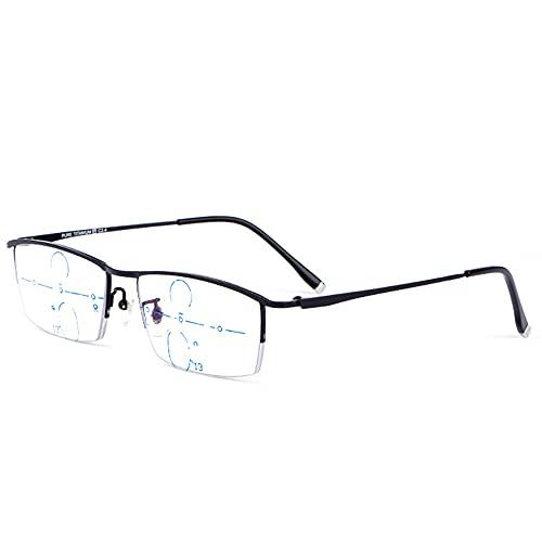 CAOXN Gafas De Lectura Progresivas De Enfoque Múltiple Anti-Luz Azul para Hombres, Gafas De Computadora Ultraligeras con Montura De Titanio Puro Y Resistentes A La Radiación,Negro,+1.00