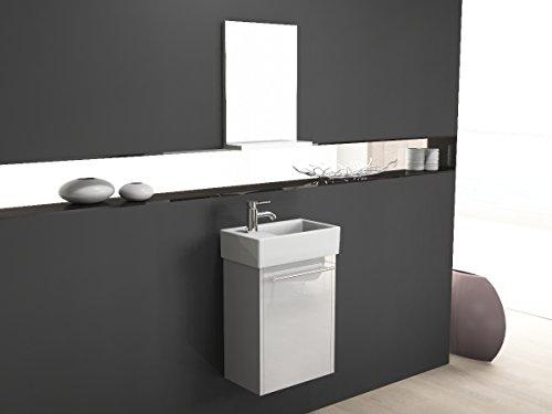 Badkamermeubel - set incl. spiegel met plank en keramische wastafel 45x26cm - wit hoogglans