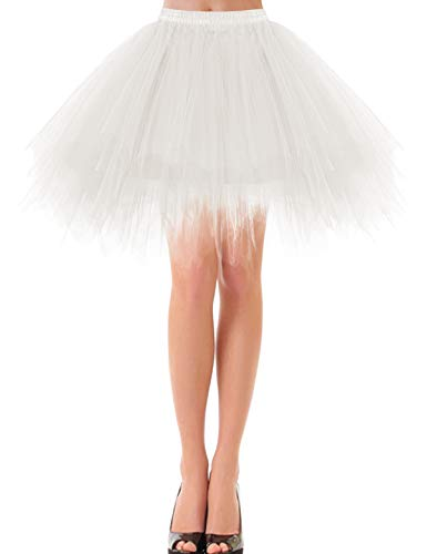 Knielang Tüll Petticoat Kleider Unterrock Dirndl kurz Vintage Rock Damen kariert Petticoat rot Tutu Ballet Tüllrock Ivory L