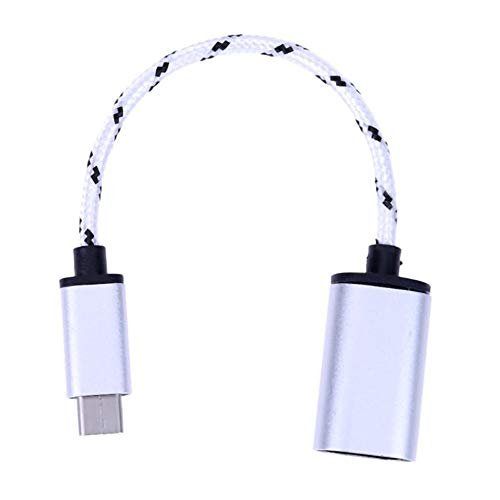 Silverdrew USB C Macho a USB Tipo A Adaptador Hembra Concentrador de Datos Convertidor de Funciones OTG Cable de Datos de Carga rápida Cable - Plata
