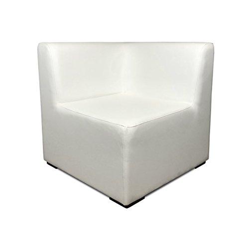 SUENOSZZZ-ESPECIALISTAS DEL DESCANSO Sofa Exterior Modular Benahavis rinconera Color Blanco tapizado en Polipiel Silva. Chill out Jardin o recepcion.