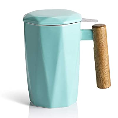 SWEEJAR Porcelain Tea Mug with Infuser and Lid, Wooden Handle, 17 Ounce, Geometric Shape Tea Cup for Steeping, Tea Lover, Gift, Home, Office (Turquoise)