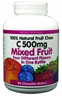 Natural Factors - C 500mg - Vitamin C - Natural Fruit Chews - Mixed Fruit 90 Wafers