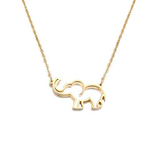 liming Collar de Acero Inoxidable para Mujer Amante Origami Elefante Collares Pendientes para Mujer Joyería gótica Collares De Moda, Color Dorado