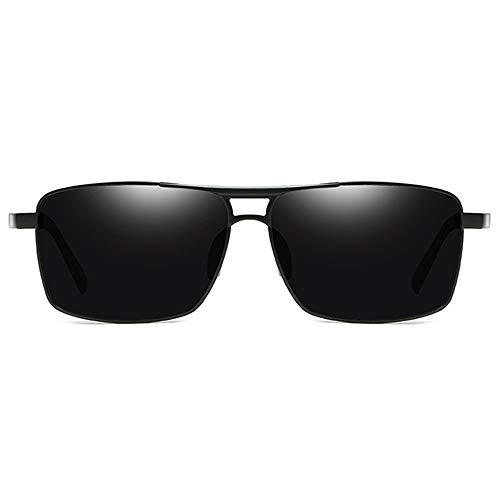 Raxinbang Gafas de Sol Gafas De Sol Cuadradas De Material Metálico Ligero UV400 Gafas De Sol Negras/Gris/Plateadas con Lentes Grises for Hombres (Color : Black)