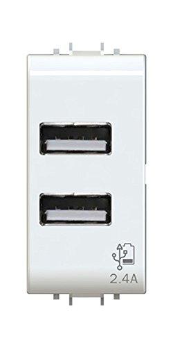 Toma USB 2.4A a 2salidas sobre módulo individual compatible con Gewiss Chorus Blanca