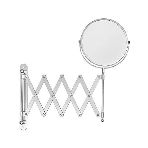Kosmetikspiegel Rasierspiegel mit Wandbefestigung (20cm) 360º Schwenkkopf Rostfreier Stahl Ausziehbarer Badezimmer Spiegel mit ein & dreifacher Vergrößerung, 2 Schrauben, 2 Wanddübeln, Schminkspiegel