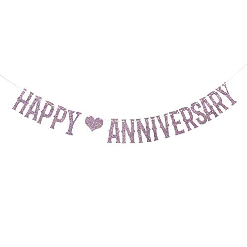 Purple Glittery Happy Anniversary Banner for Wedding Anniversary/Anniversary Party/Birthday Party Decorations