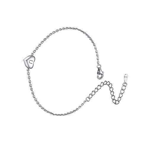 Pulsera con letras del alfabeto para mujer de plata de ley con dije de corazón