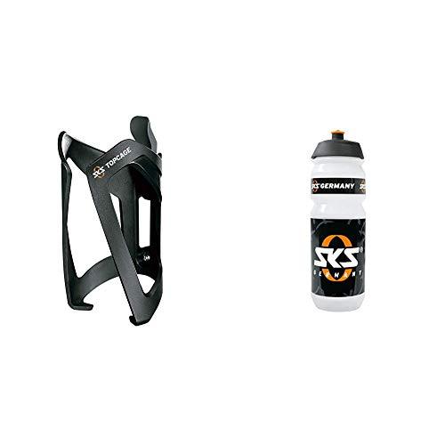 SKS Adapter Anywhere mit Topcage, Schwarz, 10 x 10 x 25 cm, 11231 & Unisex– Erwachsene Large Trinkflasche, transparent, 1size