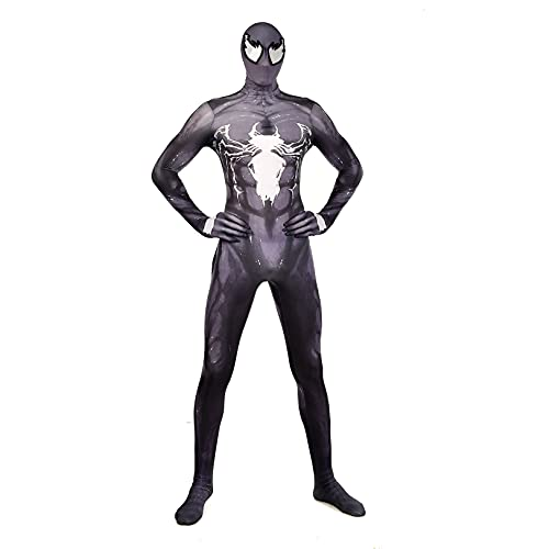 Spiderman Venom Cosplay Body Halloween Super Herero Herero Película The Fiesta Disco de Lujo Props Lycra Spandex Pelaje Leotard,Bodysuit-Kids M(110~125cm)