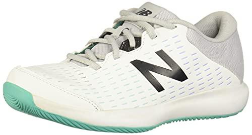 New Balance Women's 696 V4 Hard Court Tennis Shoe, White/Grey/Tidepool, 6 X-Wide
