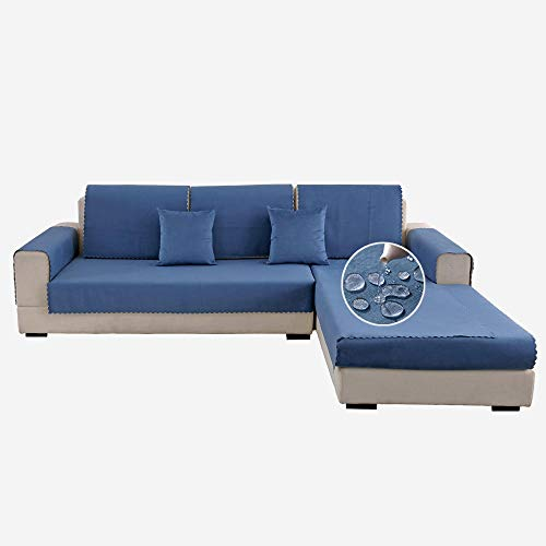 Urine-proof couch seat covers for dogs, cats, kids,velvet non-slip sofa slipcovers, waterproof anti-adhesive hair sofa cushion cover-blue_110*160cm