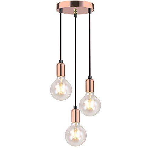 Moderna lámpara colgante en espiral con 3 luces de techo, estilo Edison retro, E27, color cobre rosa