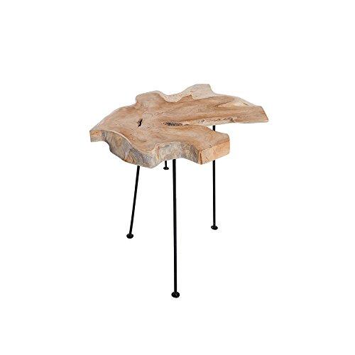Invicta Interior Massiver Beistelltisch WILD Baumscheibe mit Jahresringen Teak Couchtisch aus Massivholz Holztisch