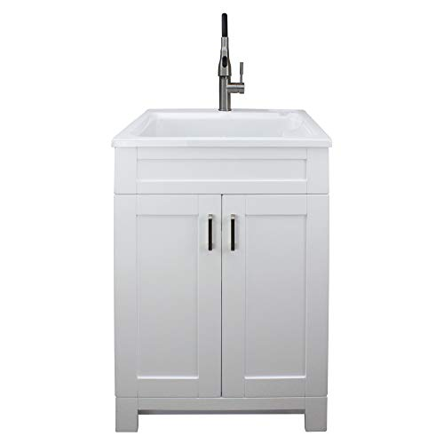 Transolid TCAS-2522-WC 25-in Laundry Cabinet with Acrylic Sink, Stainless Steel High Arc Faucet, White