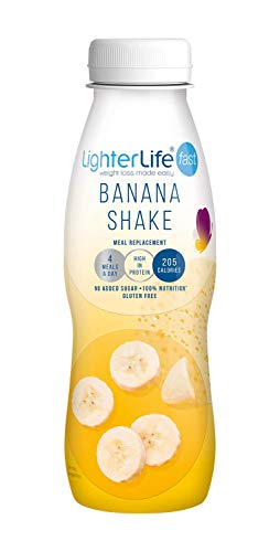LighterLife Fast Banana Shake, Gluten Free, High Protein Meal Replacement, 1 x 330ml Serving, Tray of 12 Servings