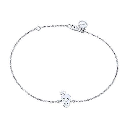 Krone Schädel Lächelnd Charms Fußkettchen Hotwire Knöchel Armband Für Frauen 925 Sterling Silber Verstellbar 9 Bis 10 Zoll