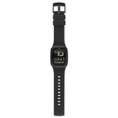 Swatch Unisex-Uhr Digital Quarz mit Lederarmband – SURB110