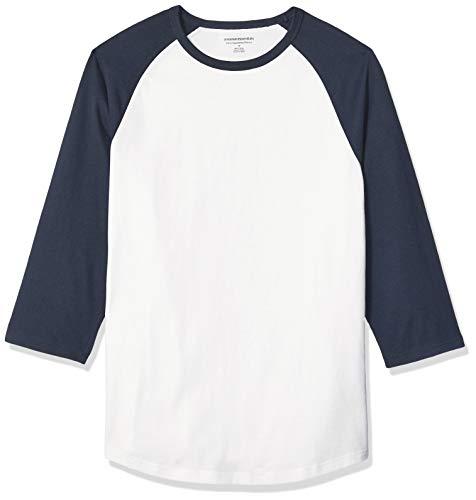 Amazon Essentials Men's Slim-Fit 3/4 Sleeve Baseball T-Shirt, Navy/White, X-Large