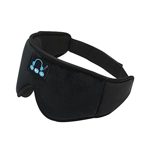 WSZMD Drahtlose Bluetooth-Augenmaske 3D, Blackout Und Atmungsaktive Stereo-Musik-Schlaf-Kopfhörer-Augenmaske,Black