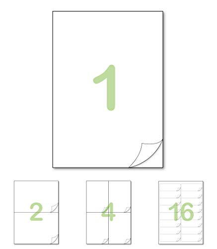 Gluetack – Etiquetas Adhesivas 210 x 297mm (A4) – Papel de Pegatina para Imprimir con Adhesivo Superpermanente y Fácil Despegue Vertical–100 Folios Adhesivos-1 Etiqueta/Hoja–100 Etiquetas