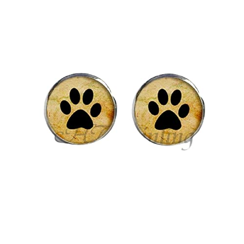 Pendientes para amantes de los perros, diseño de huellas con pendientes de perro, joyería de cristal, pendientes de cabujón hechos a mano