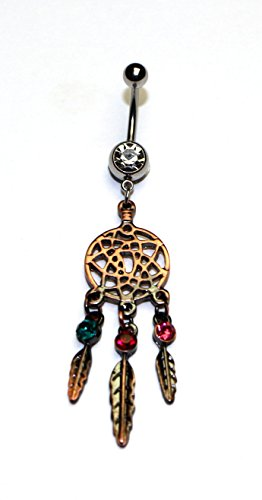 Hypoallergenic Surgical Steel Colorful Dangle Dream Catcher Belly Ring With White Cubic Zirconia Stones