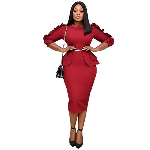 Dresses Hübsche Kleid Kleider Damen Frauen Bodycon Kleider Schlanke Rüschen Elegante Büro Damen Arbeitskleidung Elastisc