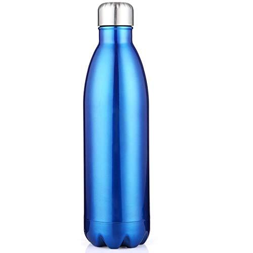 xuanyanhu Botella de Agua de Acero Inoxidable portátil de 1Ll Frasco de vacío con Aislamiento Termo Botella de Agua de Cola de Doble Pared