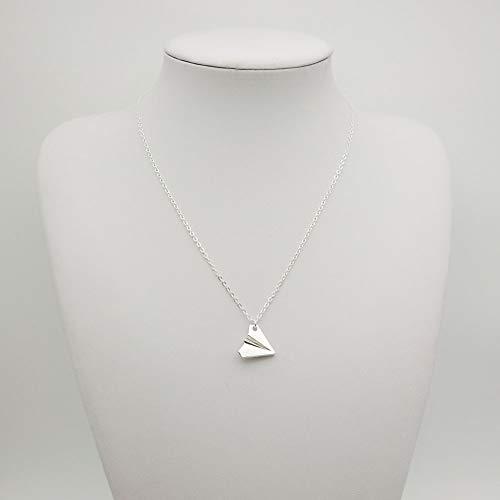 Tonpot Damen Schöne Silber Halskette Elegante Einfache Klein Papier Flugzeug Anhänger Halskette Geburtstagsgeschenk für Frauen Damen Mädchen