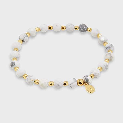 gorjana Women's Power Beaded Elastic Bracelet for Calming, 18K Gold Plate