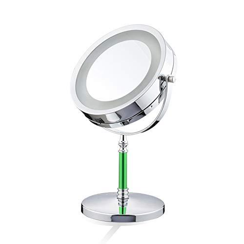 Miroir De Maquillage À LED - Miroir Avec Grossissement Normal Et Miroir De Courtoisie 3X - 360 °