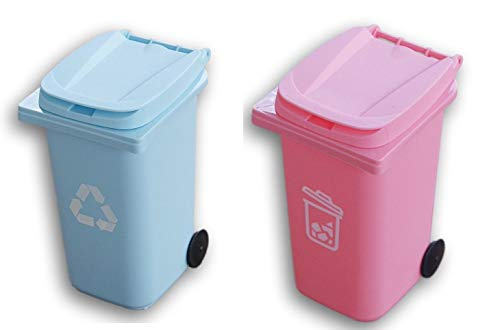 Mini Curbside Trash/Recycle Can Pencil Cup Holder Set (Colors Vary)
