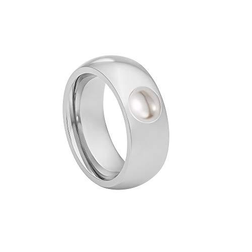 Heideman Ring Damen Coma 8 aus Edelstahl Silber farbend poliert Damenring für Frauen mit Perle Weiss oder grau 6mm rund Weiss Gr.54 hr9108-3-11-54