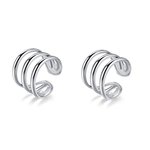 SLUYNZ 925 Sterling Silver Multi Circles Cuff Earrings for Women Teen Girls Clip Ons Earrings Cartilage Earrings (Silver Tri-Circle)