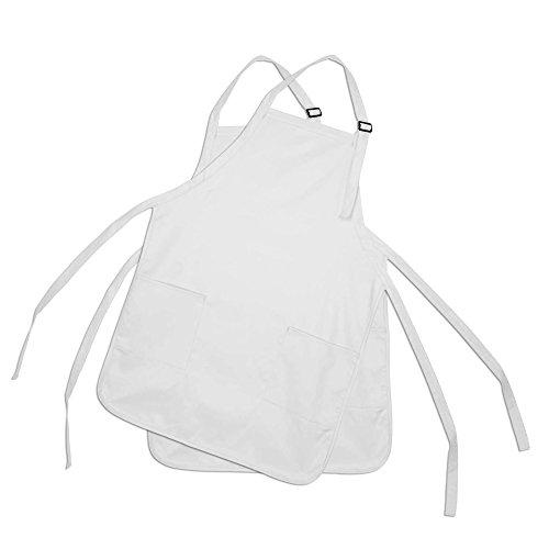 DALIX Apron Commercial Restaurant Home Bib Spun Poly Cotton Kitchen Aprons (2 Pockets) in White 2 Pack